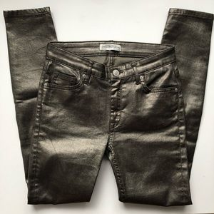 Zara metallic coated skinny jeans / jeggings sz 2
